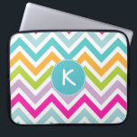 "Colorful Chevron Monogram Lap Top Sleeve<br><div class=""desc"">Stylish zippered lap top sleeve done in a colorful yellow, aqua, green, pink, white, and lavender chevron zigzag style pattern. A aqua and white decorative disc, in the middle, has a white one letter monogram ready to personalize, to suit your needs. Great way to protect your electronic device and makes...</div>"