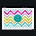 "Colorful Chevron Monogram Laptop Skin<br><div class=""desc"">Stylish laptop skin done in a aqua,  pink,  yellow,  green,  lavender,  and white chevron zigzag pattern.  An aqua circle,  in the middle,  has a white one letter monogram ready to personalize.  Great way to personalize your laptop with a stylish look everyone will ask you about.</div>"