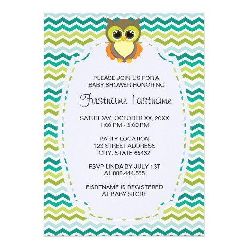 colorful chevron owl baby shower invitations zazzle