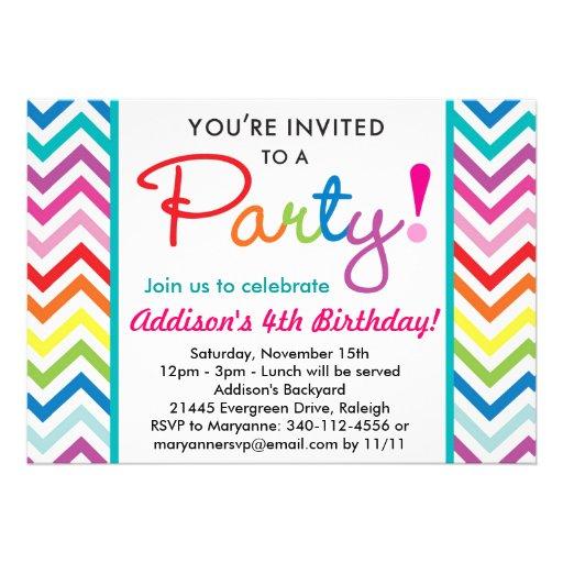 Colorful Chevron Party Invitation