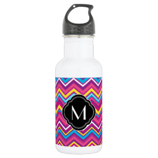 Colorful chevron pattern and monogram water bottle
