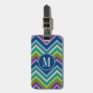 Colorful Chevron Pattern Custom Monogram Bag Tag