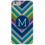 Colorful Chevron Pattern Custom Monogram Barely There iPhone 6 Plus Case