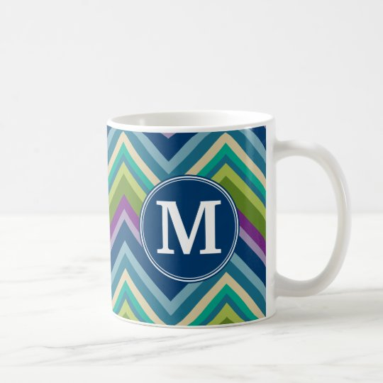 Colorful Chevron Pattern Custom Monogram Coffee Mug