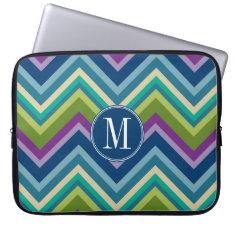 Colorful Chevron Pattern Custom Monogram Computer Sleeve at Zazzle