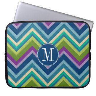 Colorful Chevron Pattern Custom Monogram Computer Sleeve