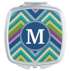 Colorful Chevron Pattern Custom Monogram Mirror For Makeup at Zazzle