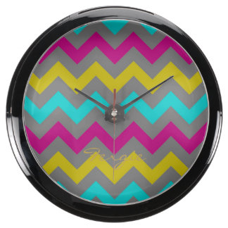 colorful chevron pattern personalized by name aqua clocks