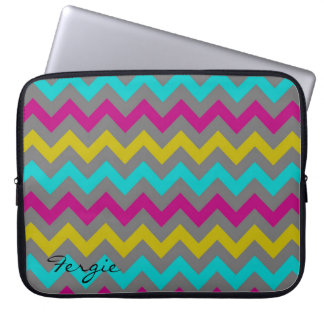 colorful chevron pattern personalized by name computer sleeve