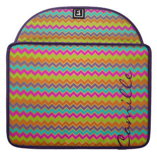 colorful chevron pattern personalized with name sleeve for MacBook pro