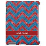 Colorful Chevron Pattern with Bricks Red Blue