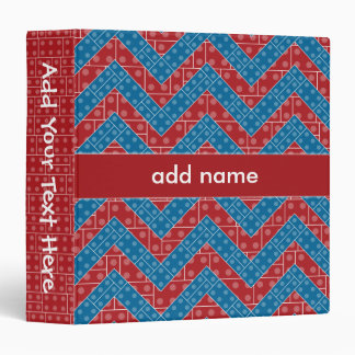 Colorful Chevron Pattern with Bricks Red Blue 3 Ring Binder