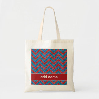 Colorful Chevron Pattern with Bricks Red Blue Tote Bags