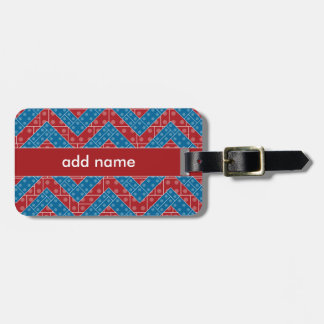 Colorful Chevron Pattern with Bricks Red Blue Luggage Tag