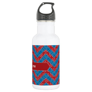 Colorful Chevron Pattern with Bricks Red Blue Stainless Steel Water Bottle