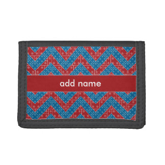 Colorful Chevron Pattern with Bricks Red Blue Tri-fold Wallet