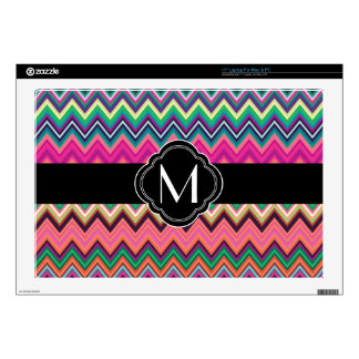 "Colorful Chevron Pattern with Monogram 17"" Laptop Skins"