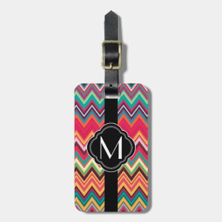 Colorful Chevron Pattern with Monogram Bag Tag