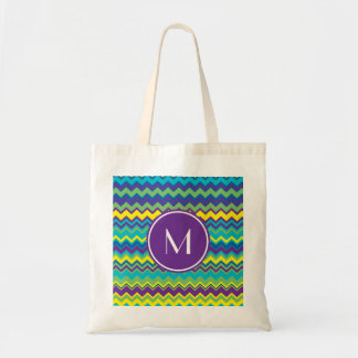 Colorful Chevron Pattern With Monogram Budget Tote Bag