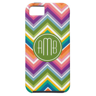 Colorful Chevron Pattern with Monogram iPhone 5 Cases