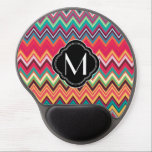 "Colorful Chevron Pattern with Monogram Gel Mouse Pad<br><div class=""desc"">Colorful chevron pattern with monogram.</div>"