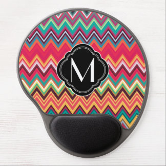 Colorful Chevron Pattern with Monogram Gel Mouse Pad