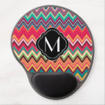 Colorful Chevron Pattern with Monogram Gel Mousepads