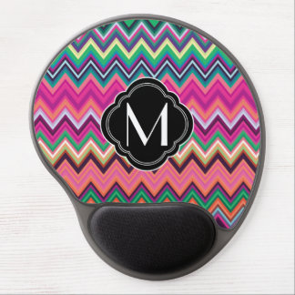 Colorful Chevron Pattern with Monogram Gel Mouse Mats