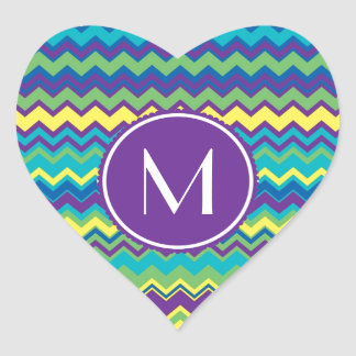 Colorful Chevron Pattern With Monogram Heart Sticker