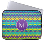 Colorful Chevron Pattern With Monogram Computer Sleeve