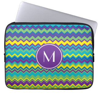 Colorful Chevron Pattern With Monogram Laptop Computer Sleeves