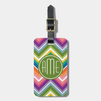 Colorful Chevron Pattern with Monogram Travel Bag Tags