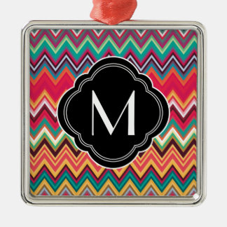 Colorful Chevron Pattern with Monogram Metal Ornament