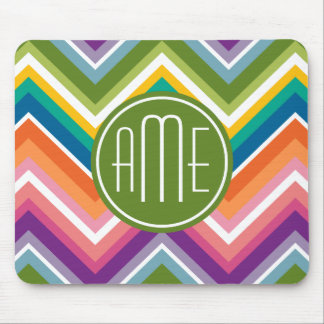 Colorful Chevron Pattern with Monogram Mouse Pad