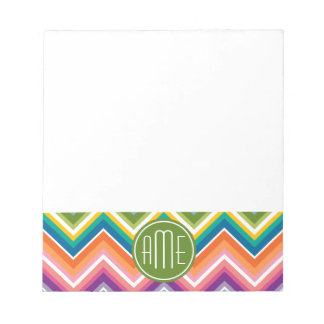 Colorful Chevron Pattern with Monogram Notepad
