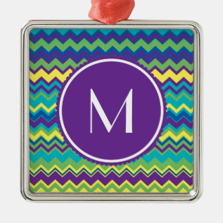 Colorful Chevron Pattern With Monogram Christmas Ornament