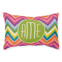 Colorful Chevron Pattern with Monogram Pet Bed