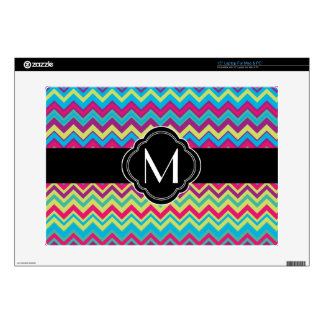 "Colorful Chevron Pattern with Monogram Skin For 15"" Laptop"