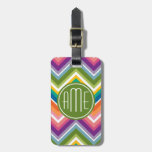 Colorful Chevron Pattern with Monogram Travel Bag Tag