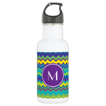 Colorful Chevron Pattern With Monogram Water Bottle