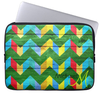 Colorful Chevron Pattern Wooden #10 Computer Sleeve