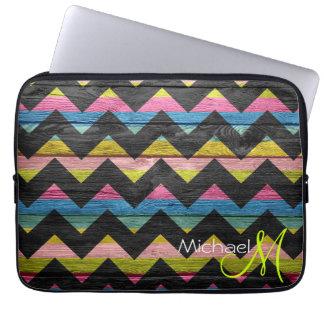 Colorful Chevron Pattern Wooden #7 Laptop Sleeve
