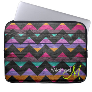 Colorful Chevron Pattern Wooden Computer Sleeve