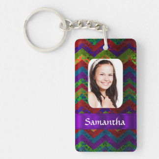 Colorful chevron photo template keychain