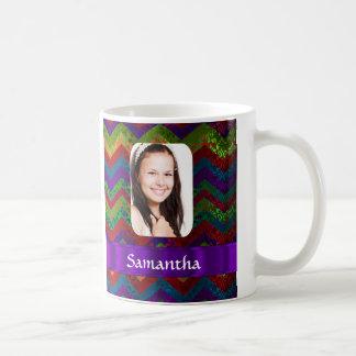 Colorful chevron photo template classic white coffee mug