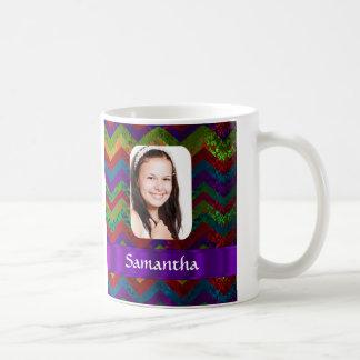 Colorful chevron photo template mug