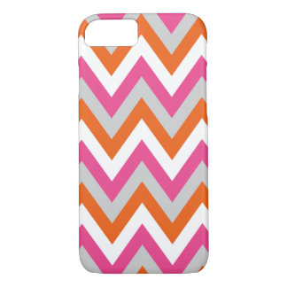 Colorful Chevron Pink White Orange Pattern iPhone 8/7 Case