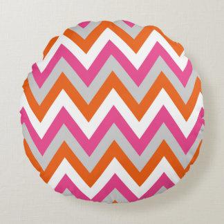 Colorful Chevron Pink White Orange Pattern Round Pillow