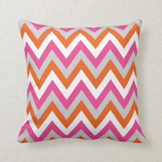 Colorful Chevron Pink White Orange Pattern Pillow