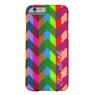 Colorful Chevron Retro Stripes Monogram #11 Barely There iPhone 6 Case